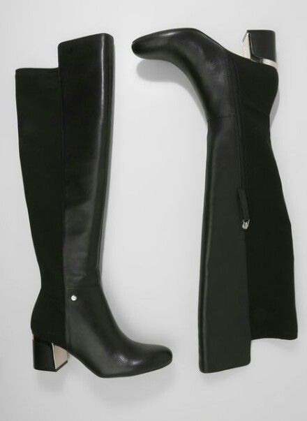 e83bd33f009 DKNY Cora riding over the knee boot in Black leather with silver block heel  detail