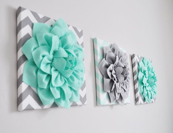 nursery wall art flower decor mint green and gray flower chevron home decor 12 x 12 baby nursery decor set of three - Mint Green Bedroom Decorating Ideas
