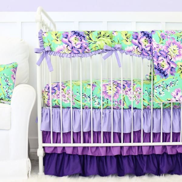 purple paige bumperless crib bedding