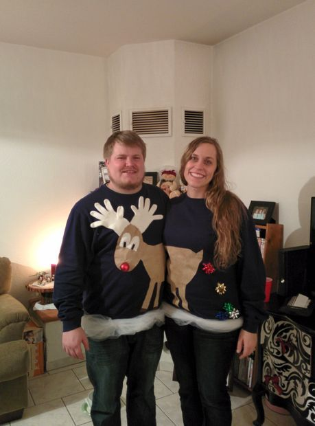 DIY Christmas Gifts! Easy Reindeer Couples Ugly Sweater | http://pioneersettler.com/diy-ugly-christmas-sweaters/
