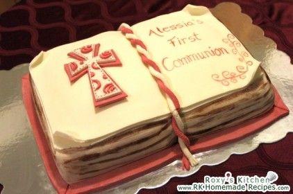 First Communion Open Book Cake / Tort Carte Deschisa Prima Comuniune / Pastel Libro de Primera Comunion