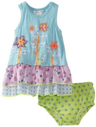 Mimi & Maggie Baby-girls Infant Tree Flowers Dress, Aqua, 12 Months Mimi & Maggie. $40.00