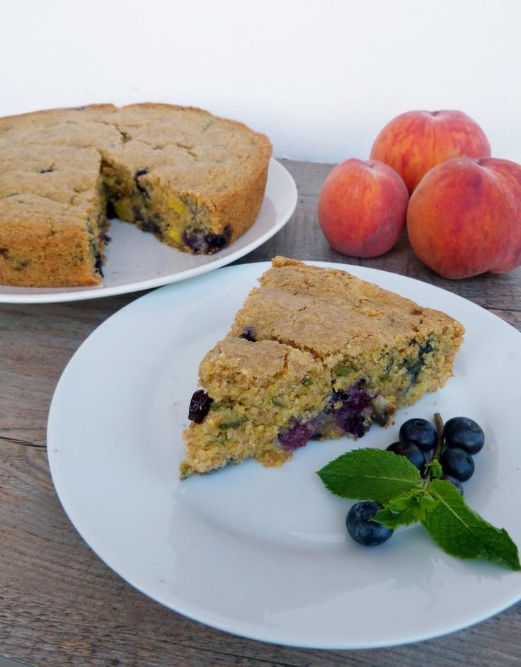 Vanille & Gewürz: Pfirsich, Heidelbeere & Minze Maismehlkuchen