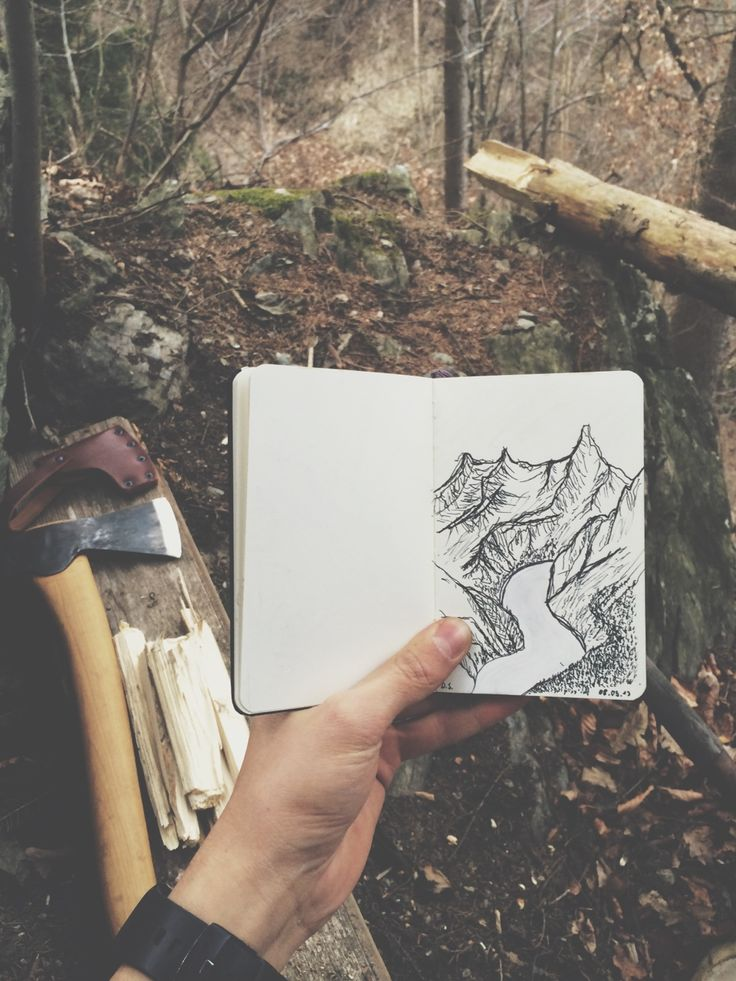 Landscape drawing by the campfire.