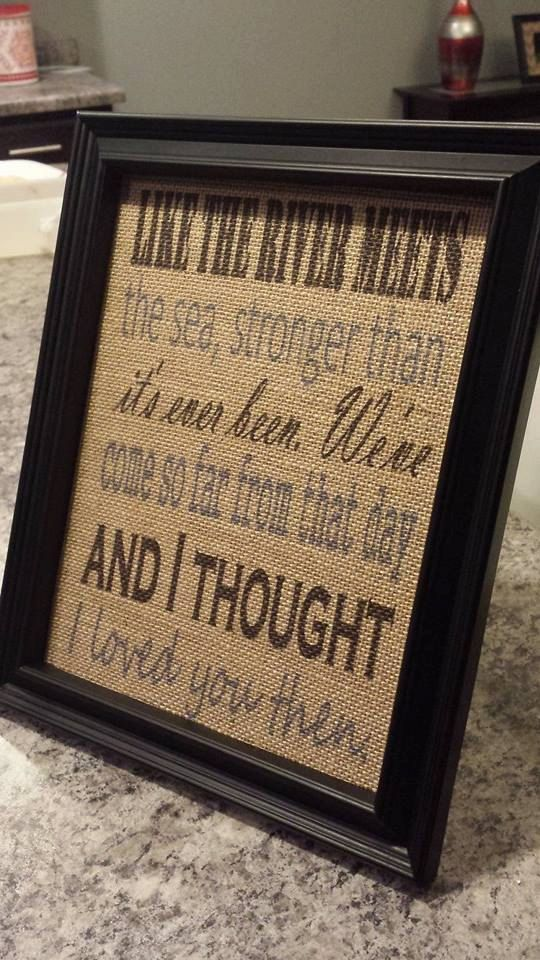 Framed Burlap Print  Then by Brad Paisley by DideschDelights, $25.00