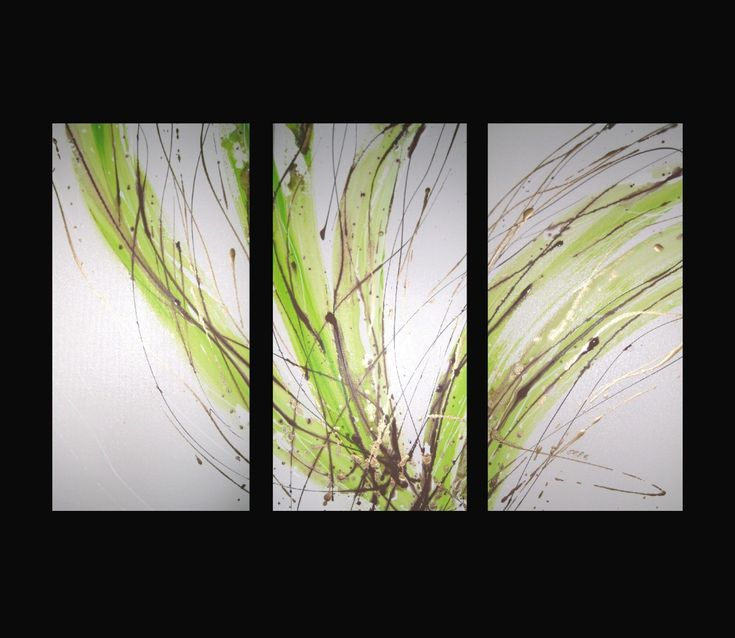 3 ABSTRACT CANVAS PAINTING white lime green brown. Modern wall art ...