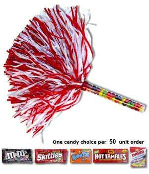Ranked #1 for The Best & Most Innovative New Fundraising Product in 2011! Spirit and candy in one fun to sell product! $1.50 to $1.80 The tube holds a full bag of candy. Price includes candy, poms & tubes. Min. order is 50 pcs. The more you buy the better the price.