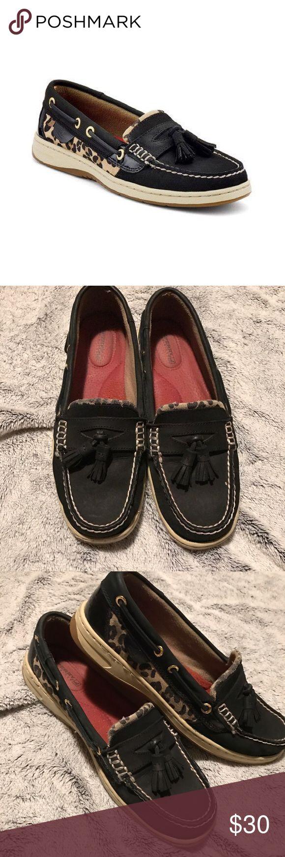 "Leopard Sperrys Leopard sperrys leather ""tasslefish"" good condition Sperry Shoes"