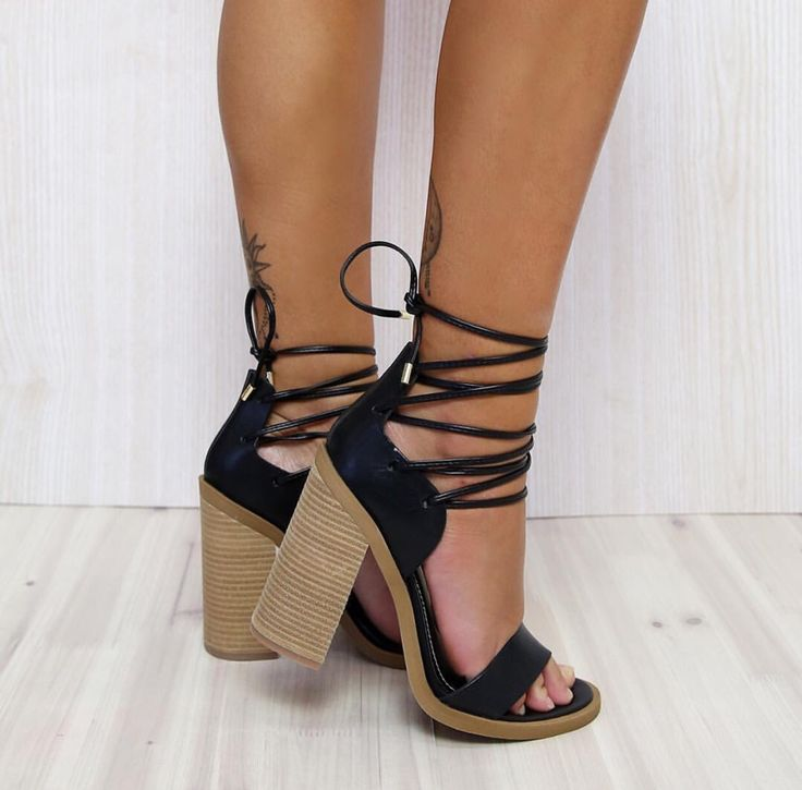 'TEGAN' In Black ✓ All laced up. The perfect lace up summer block heel  Moment </a> <a class=