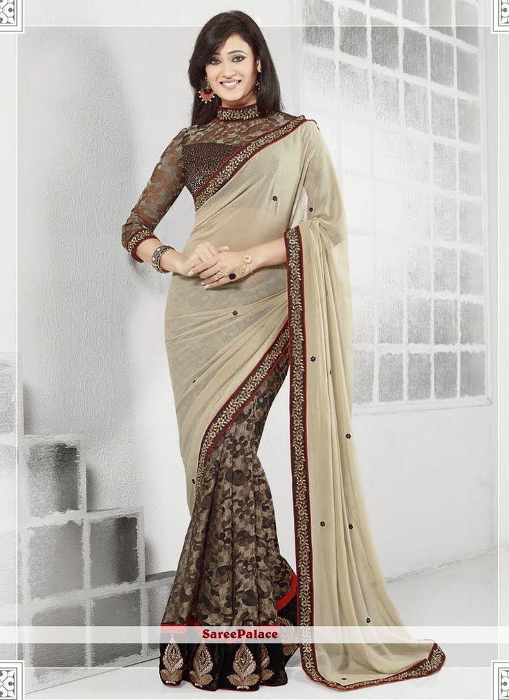 Shweta Tiwari Style Beige And Black Brasso Half And Half Saree