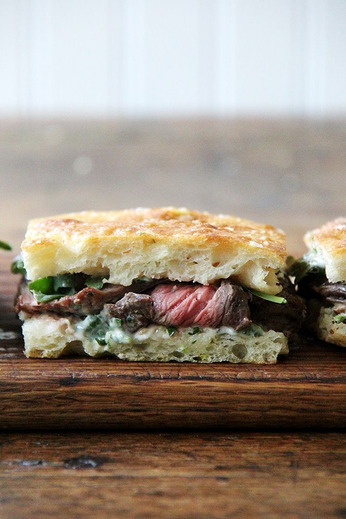 Weeknight Skirt Steak Sandwiches with Herbed Mayonnaise and Arugula - Alexandra's Kitchen