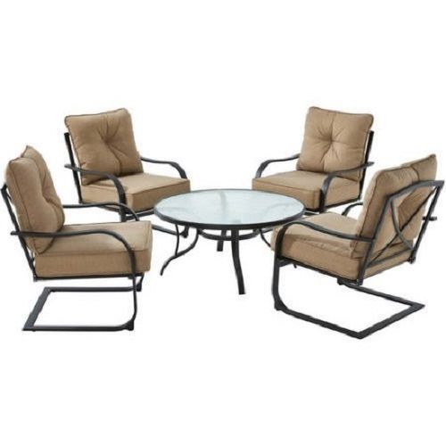 5Pc Conversation Patio Furniture Set Outdoor Table & 4 Armchairs /W Tan Cushions #Mainstays