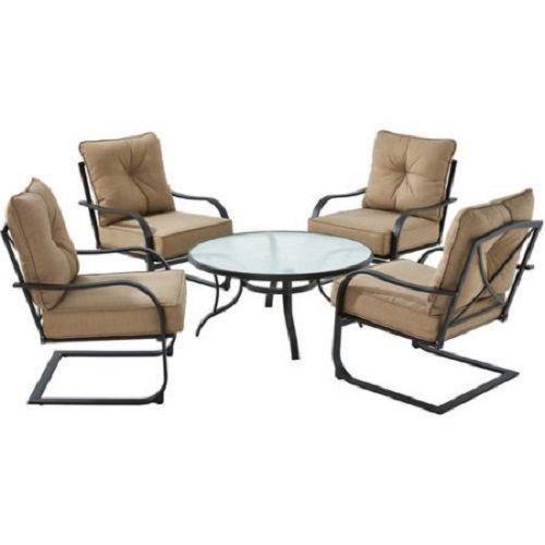 5Pc Conversation Patio Furniture Set Outdoor Table U0026 4 Armchairs /W Tan  Cushions #Mainstays