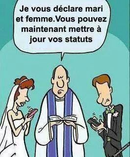 """""""I declare you husband and wife you may now update your status""""  hahahaha this is ridiculous but true for some"""