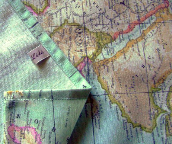 world map fabric table runner  map fabric table runner by chezlele, $25.00 For wedding table, then you could use at home?
