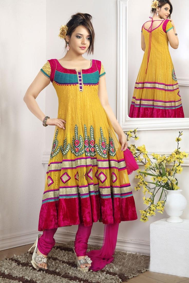 Flamboyant Brick Red & Gold Color Salwar Kameez  Item Code: VI18110    Color: Brick Red, Gold Color  Fabric: Net  Work: Lace, Resham, Stones            US$152.17