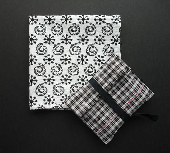 Cotton Handkerchief in Woven Fabric Pocket Black & White