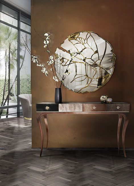 Entrance Hall Ideas | UNTAMED Console from Koket and GLANCE Mirror from Boca do Lobo | See more: https://www.brabbu.com/en/all-products.php