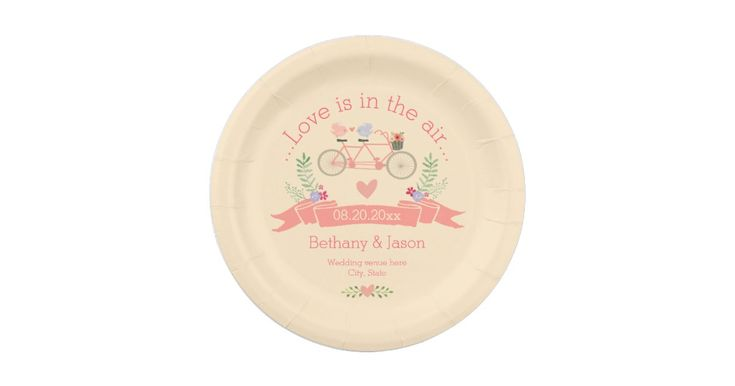 Tandem Bicycle, Birds and Banner Wedding Paper Plate