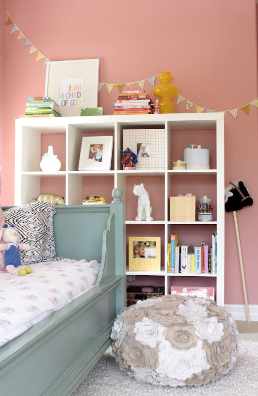 pink girl's room / Ikea bookcase...this is about the color of my current guest room! Redo for baby girl one day?