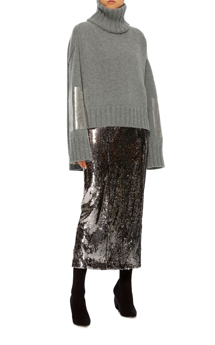 Metallic Elbow Patch Pullover by SALLY LAPOINTE Now Available on Moda Operandi
