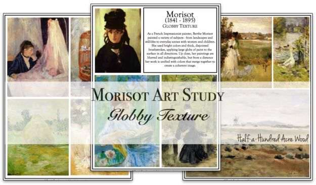 Morisot Art Project: Globby Textures art project and free printable art study pages