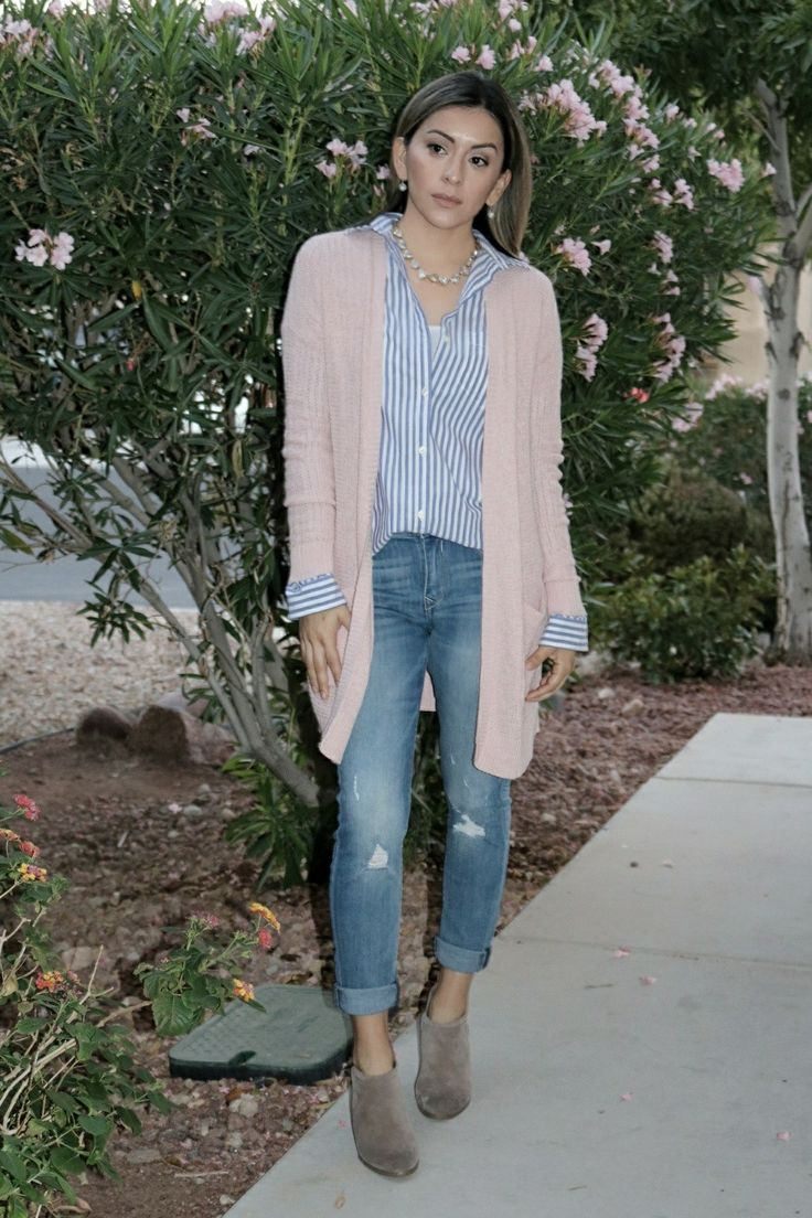Stripped shirt, blush pink cardigan outfit, fall outfits