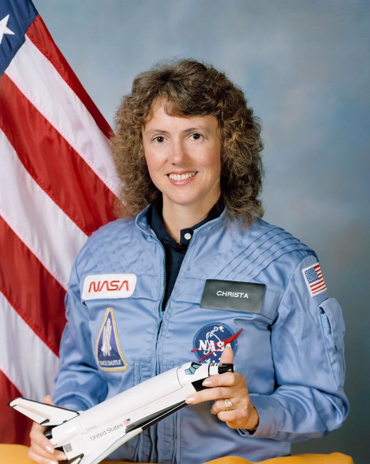 Astronaut Christa McAuliffe in the '80s. She was going to be the first teacher in space but the shuttle broke apart 73 seconds after launch. She was posthumously awarded the Congressional Space Medal of Honor.