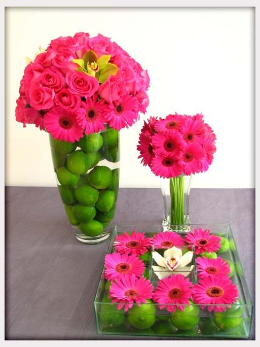 Wedding Flowers, Green Lime Amp Pink Flower Table Displays And Centerpieces: flower centerpieces for weddings