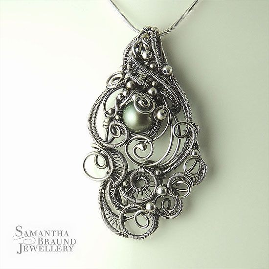Green Pearl Cascade Mermaid Amulet by Samantha Braund