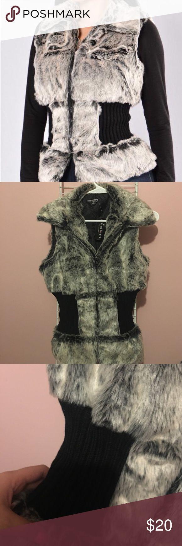Faux fur vest Adorable faux fur vest. Brand New! Cinched around waist to flatter curves! Jackets & Coats Vests