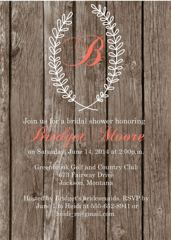 Bridal shower invitation - Printable Country Chic Bridal Shower Invitation in Etsy