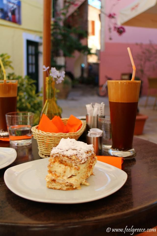 Afternoon coffee at Dolce cafe; photo from Gaios, Paxos