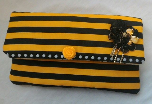 Bumble Bee Fabric Clutch Bag, Cosmetic Bag, Evening Bag, Gifts For Ladies £15.00