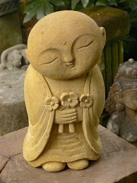 Japanese FLOWER Garden Zen Monk Jizo Buddha Boddisatva Statue Stone Sculpture #3