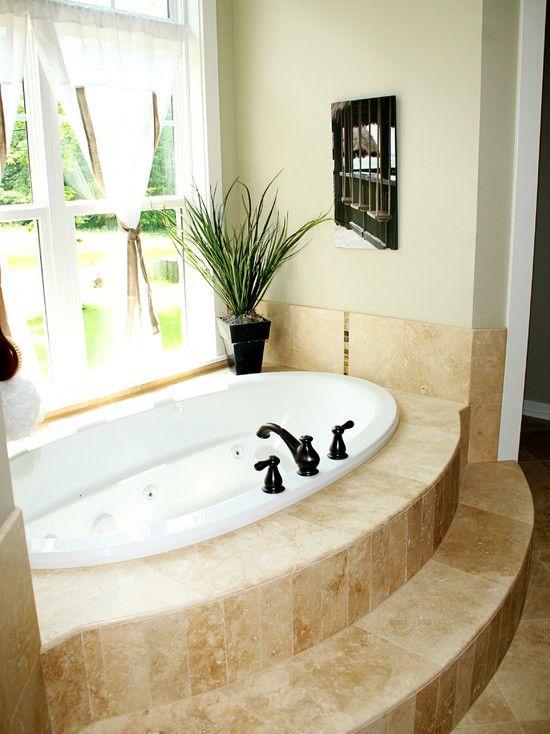 builtin tub with tiled surround - Bathroom Tubs