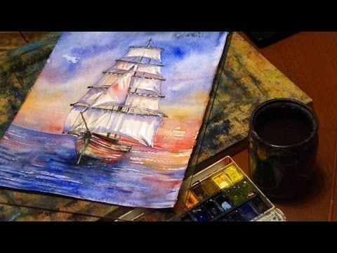 Видео мастер-класс: пишем акварелью картину «Розовые паруса» - Ярмарка Мастеров - ручная работа, handmade