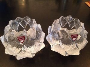 2 Orrefors Sweden Signed Pair Artichoke Crystal Glass Votive Candle Holders
