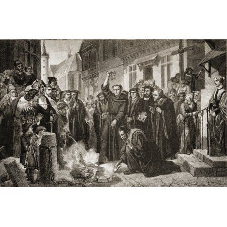 Martin Luther (1483-1546) Burning The Papal Bull (Exurge Domine) Along With The Book Of Church Law And Many Other Books By His Enemies On December 10 1520 In Wittenberg Where The Luther Oak (Luthereic