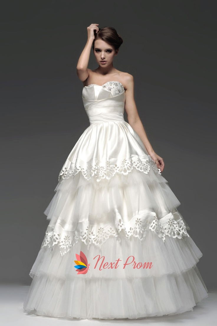 Layered Wedding Gown Strapless Tiered Tulle Ball With Embroidery