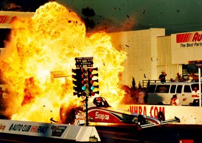 Doug Herbert's monumental explosion. After this explosion, the NHRA banned the use of 100% Nitro. It's amazing that Doug walked away.