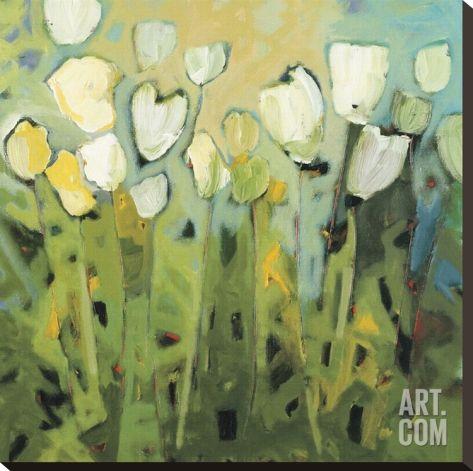 White Tulips I Stretched Canvas Print by Jennifer Harwood at Art.com