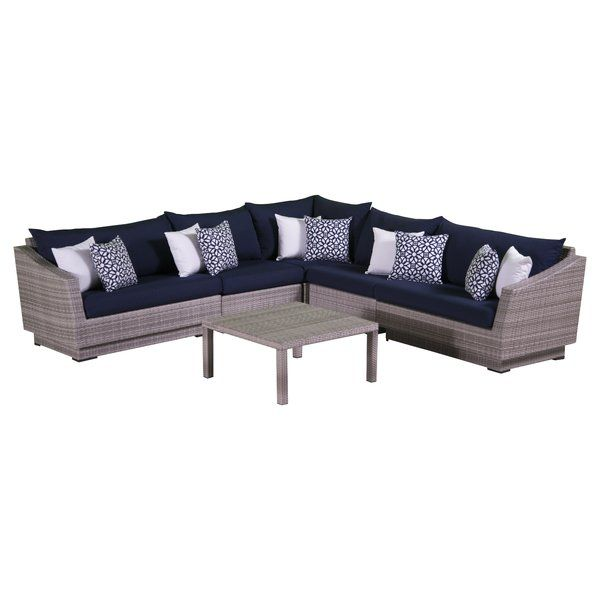 Castelli 6 Piece Sectional Set With Cushions Reviews Allmodern Outdoor Sofa Sets Contemporary Outdoor Sofas Outdoor Sectional Sofa