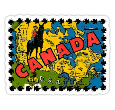Canada Map Mountie Vintage Travel Decal / These retro travel designs will make a great addition to your RV / Airstream / Winnebago / travel trailer / motorhome / westfalia / pickup / luggage / thule / dog / baby – the awesome can go anywhere! Don't settle for boring, load up on vintage class. / WAIT! Before you leave, check out my HUGE selection (multiple collections) of other vintage travel decals!* • Also buy this artwork on sticke...