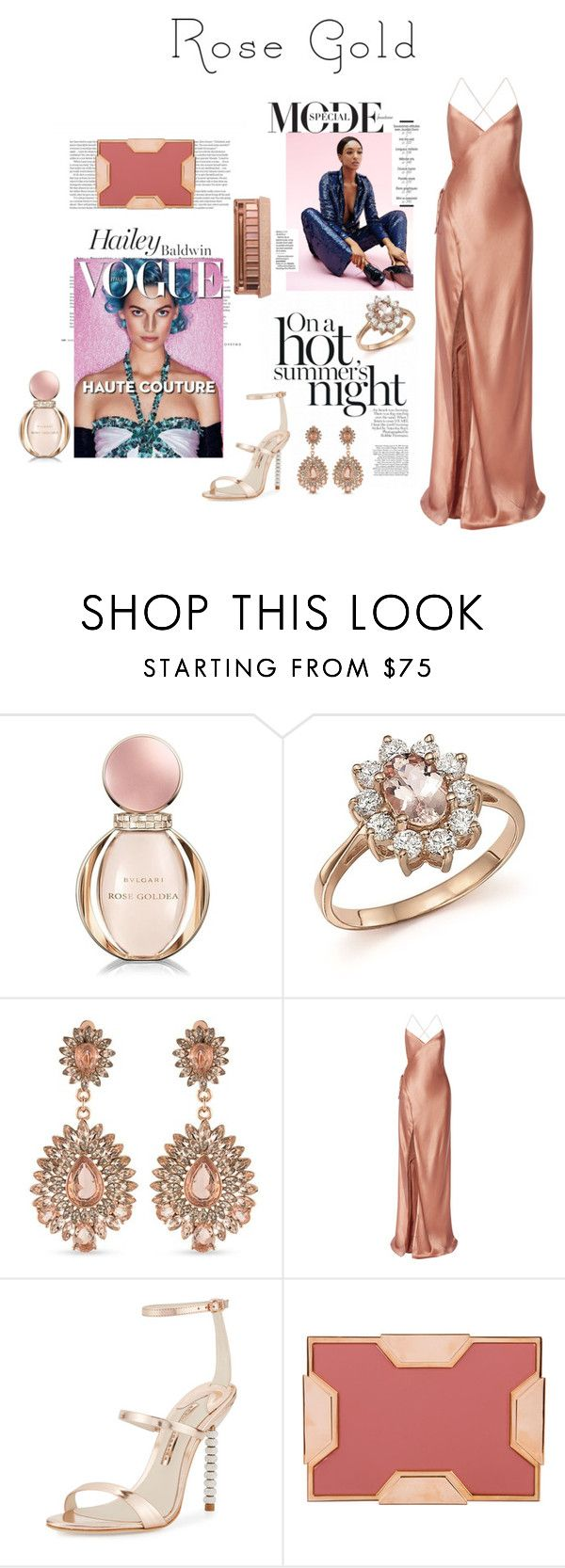 """So Pretty: Rose Gold Jewelry"" by meltc ❤ liked on Polyvore featuring Bulgari, Bloomingdale's, Carolee, Mason by Michelle Mason, Sophia Webster, Dunn, Lee Savage and Urban Decay"
