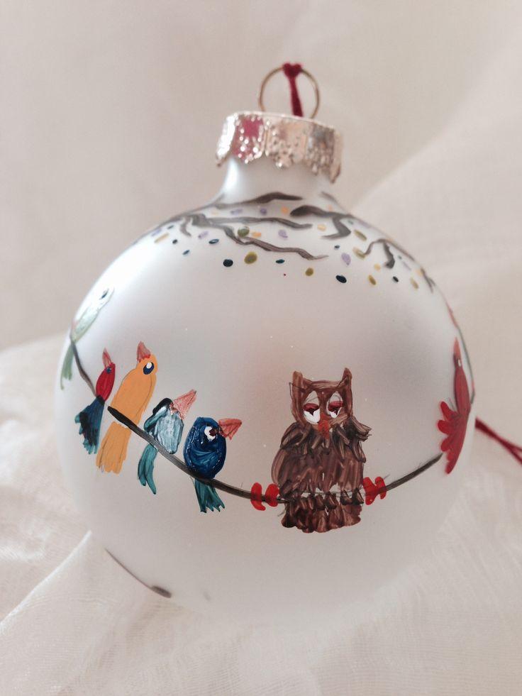 Sleepy owl. Hand-painted ornament by Melissa McNamara