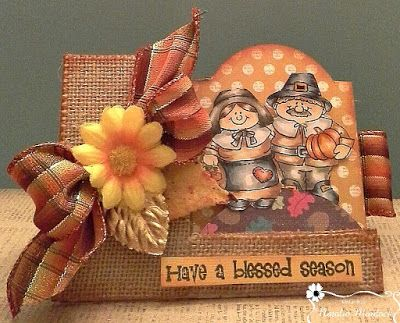 """ONECRAZYSTAMPER.COM: Happy Fall by Natalie using High Hopes Rubber Stamps """"Pilgrim Pair"""" (S209)"""