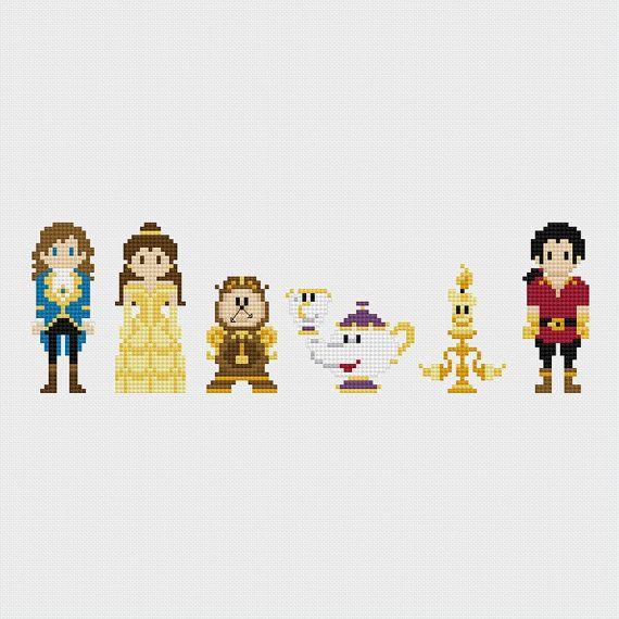 Disney Beauty & the Beast Cross Stitch Pattern by pixelsinstitches