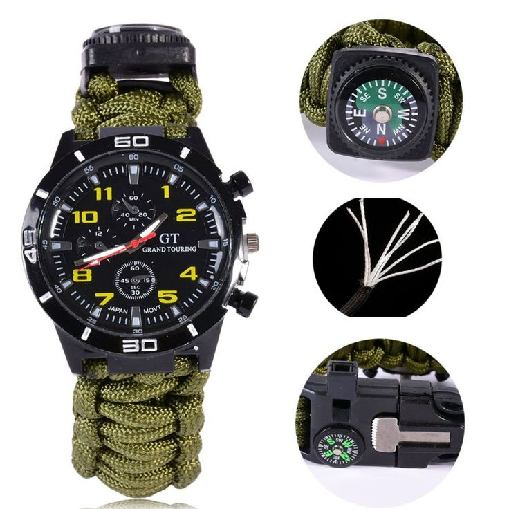 Outdoor camping 5in1 Tools Watch With survival Flint Fire Starter Paracord Compass Rescue Whistle 43BP