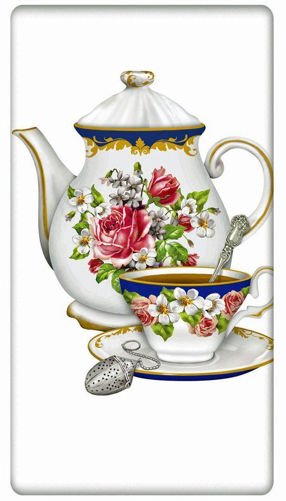 "Floral Victorian Teapot Teacup Set 100% Cotton Flour Sack Dish Towel Tea Towel - 30"" x 30"" by Designer Mary Lake Thompson"